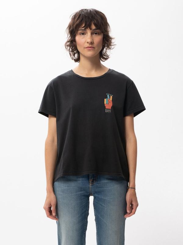 Nudie Jeans Lisa I-C-U Black T-shirts X Small