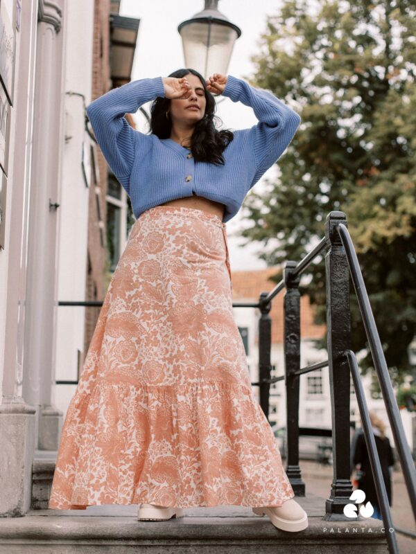 KALI Organic Cotton Skirt In Pink Print