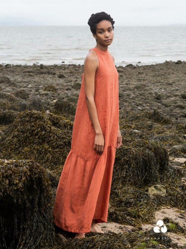 PRIYA linen dress in rust