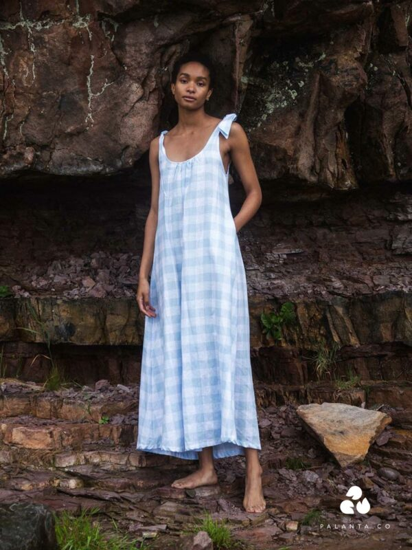 PANSY-GEE gingham dress in light blue