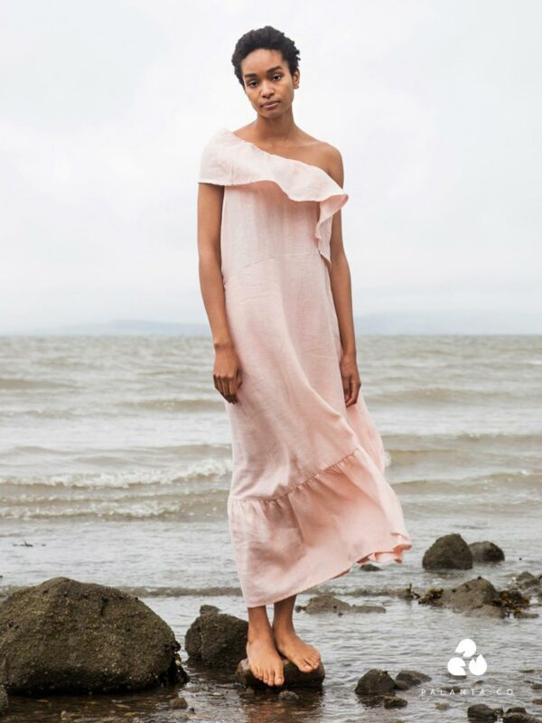 LUCY linen dress in light pink