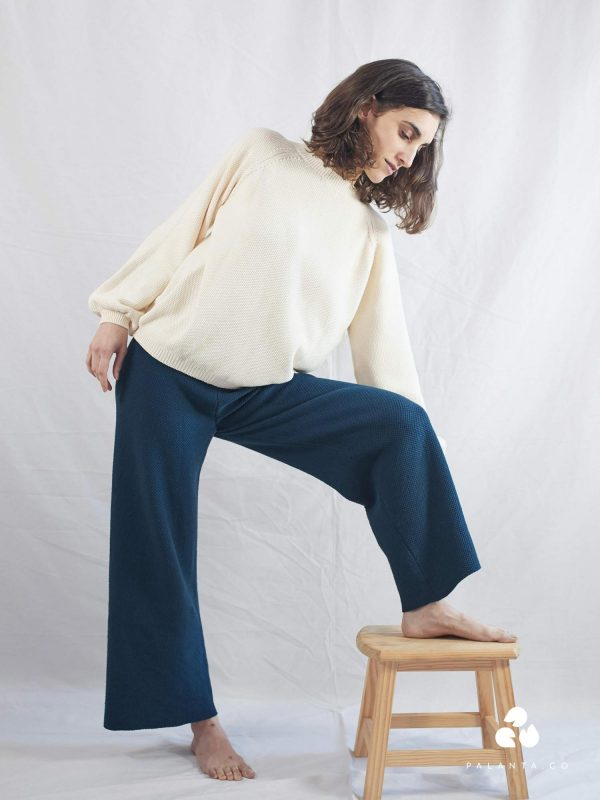 LOUISE organic cotton knitted pants navy blue