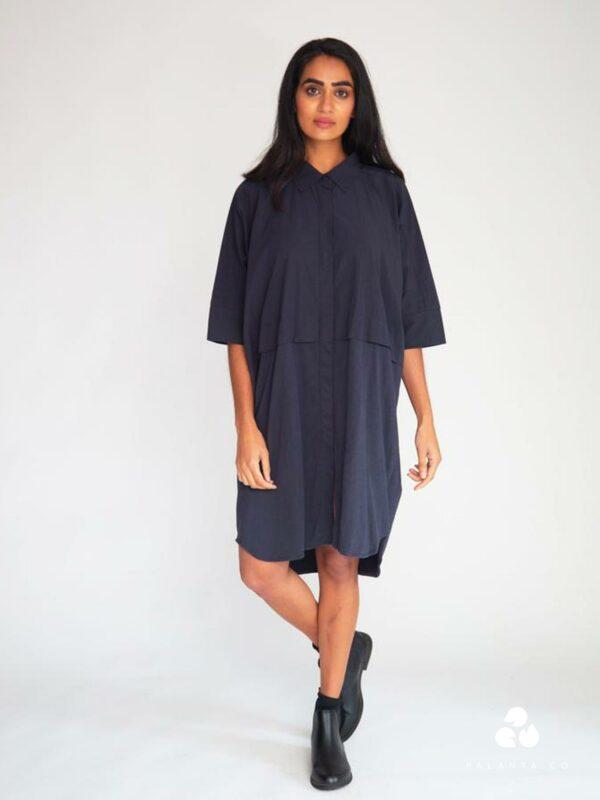 SYLVIE cotton dress in navy blue