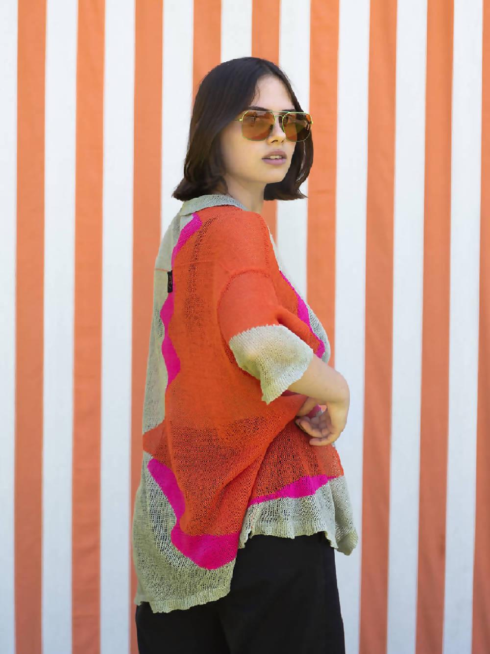 Kerriih Multicolour Sicily sunset short sleeve knit shirt