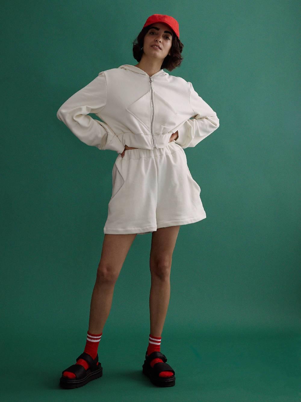 harem london White Organic Diamond Silk Shorts
