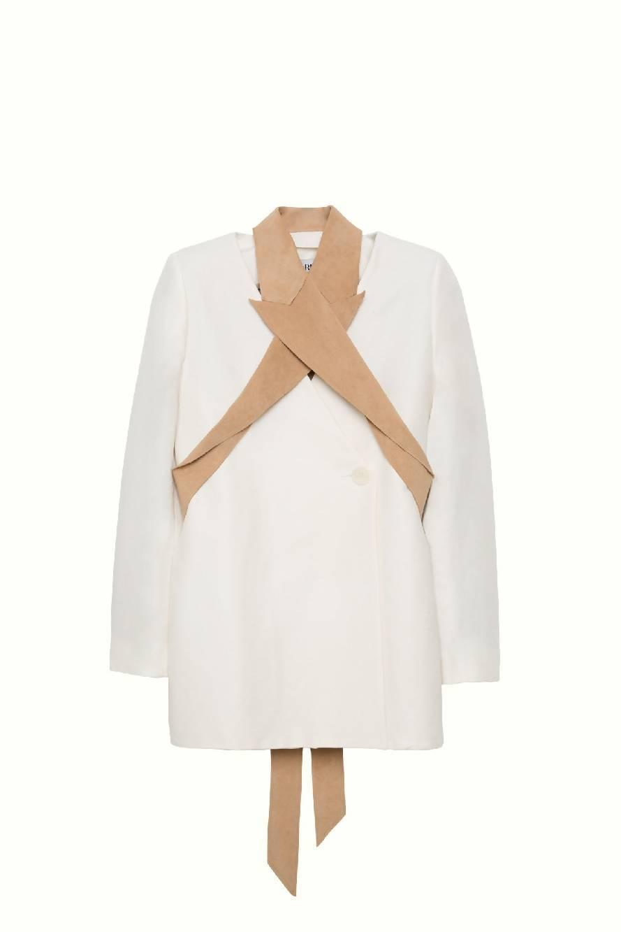 SONIA CARRASCO Deconstructed Nude White Blazer