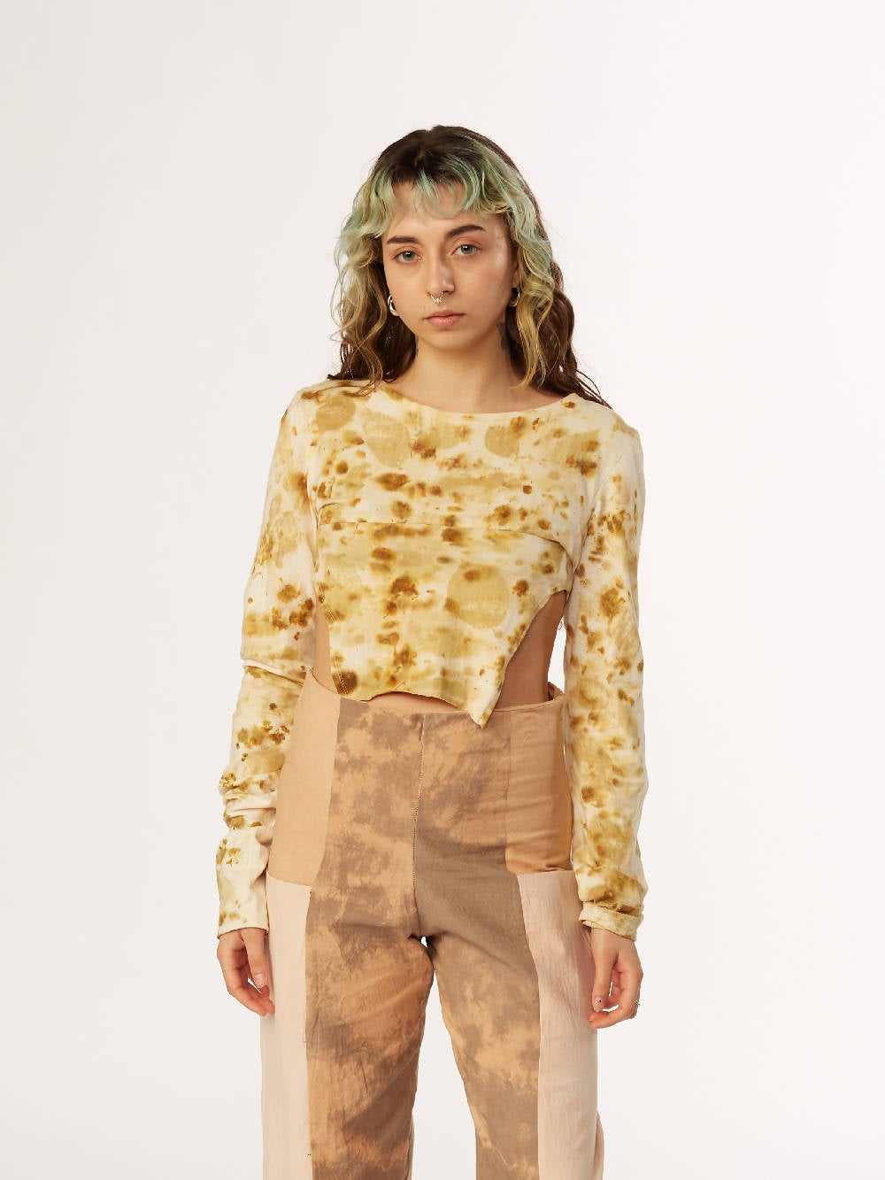 E A Williams Eco Printed Coreopsis Crop Top