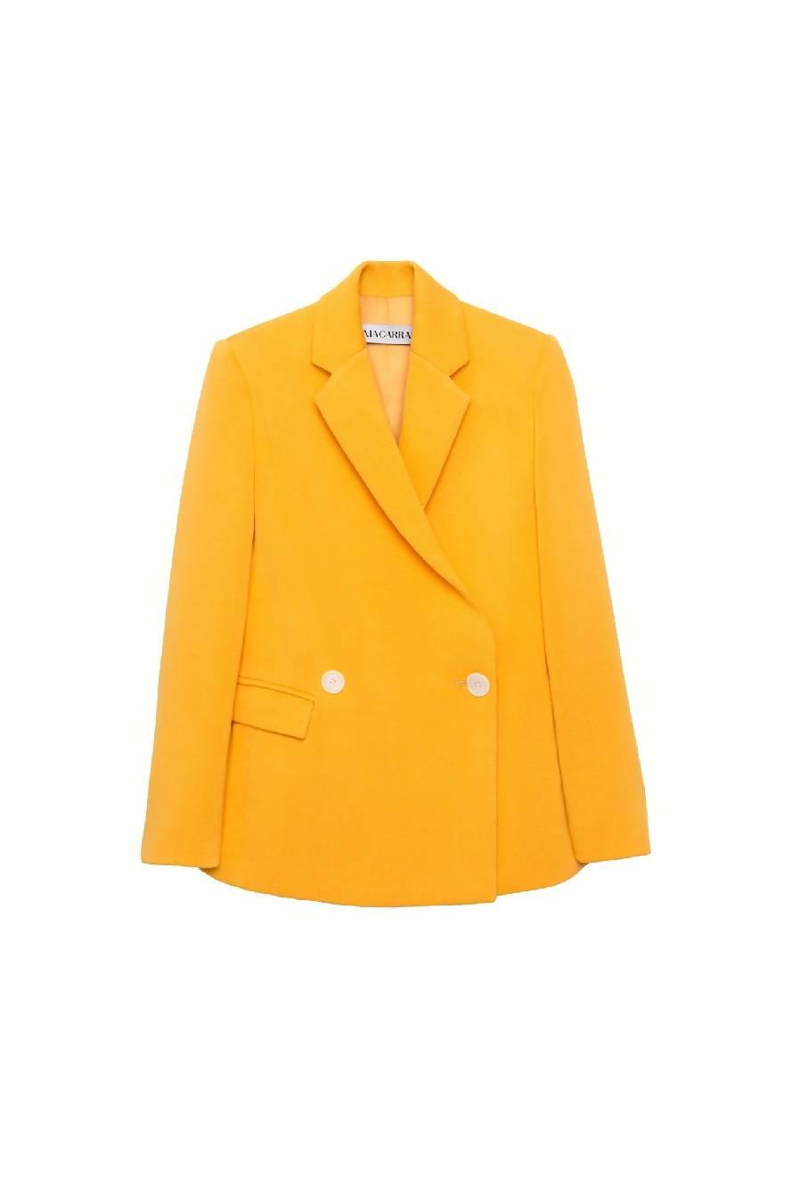 SONIA CARRASCO Knitted Tailored Yellow Blazer