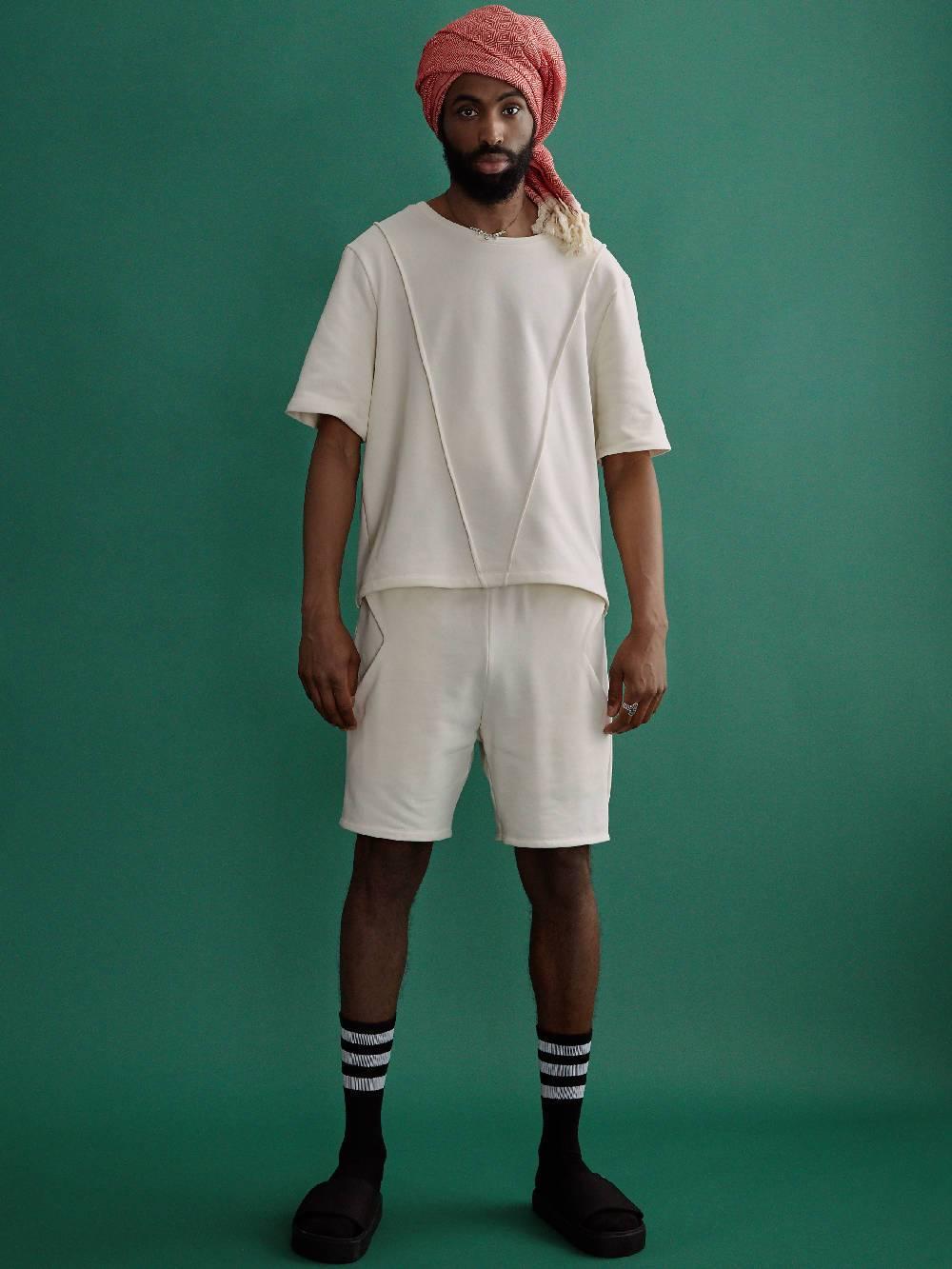 harem london White Organic Diamond Pocket Shorts