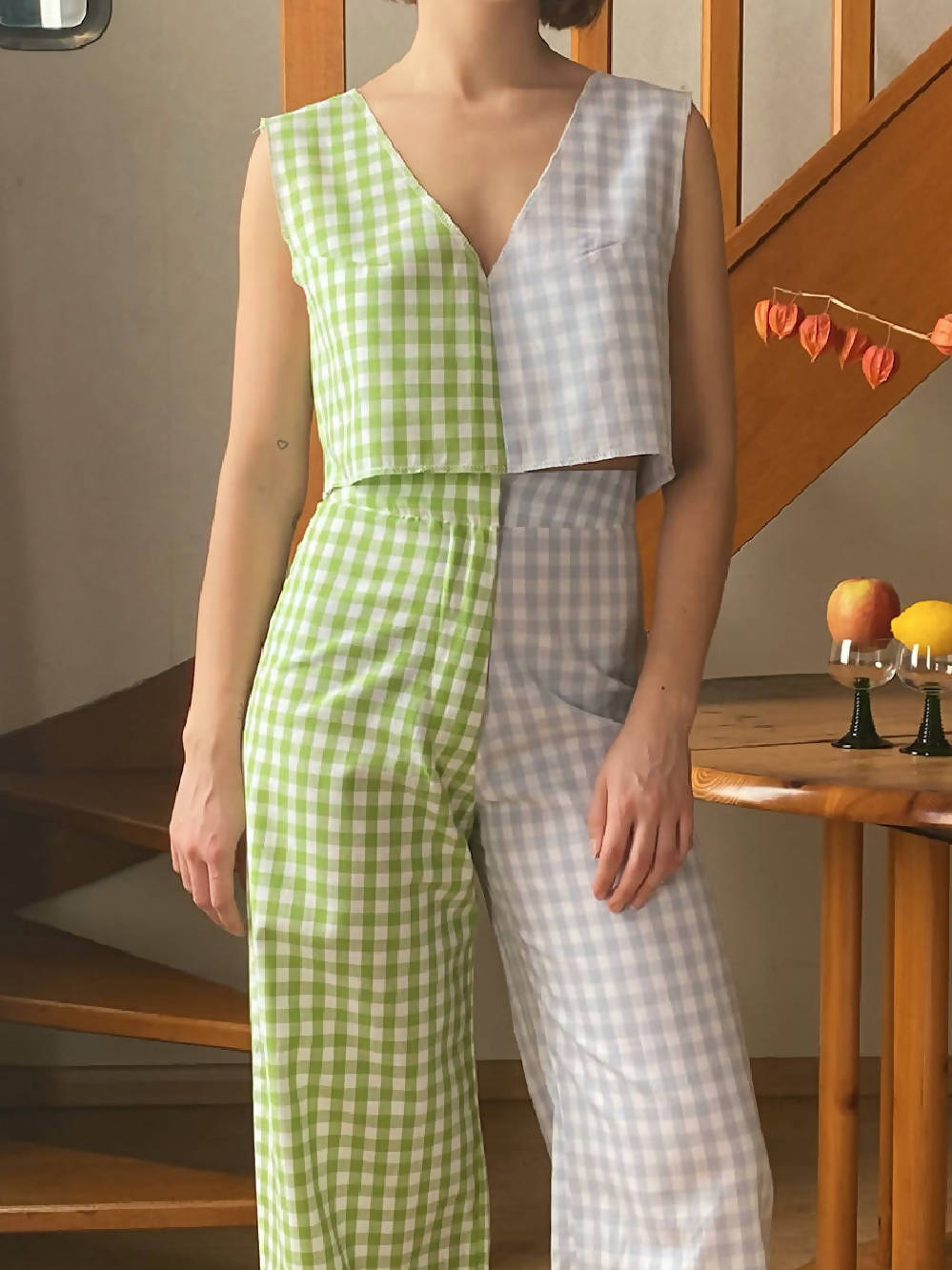 WE FOUND IT STUDIO CHECKED TOP L'ADORABLE VICHY MIX