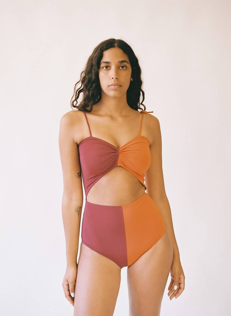 Aniela Parys Orange Two-Tone Marina One-Piece Swimwear