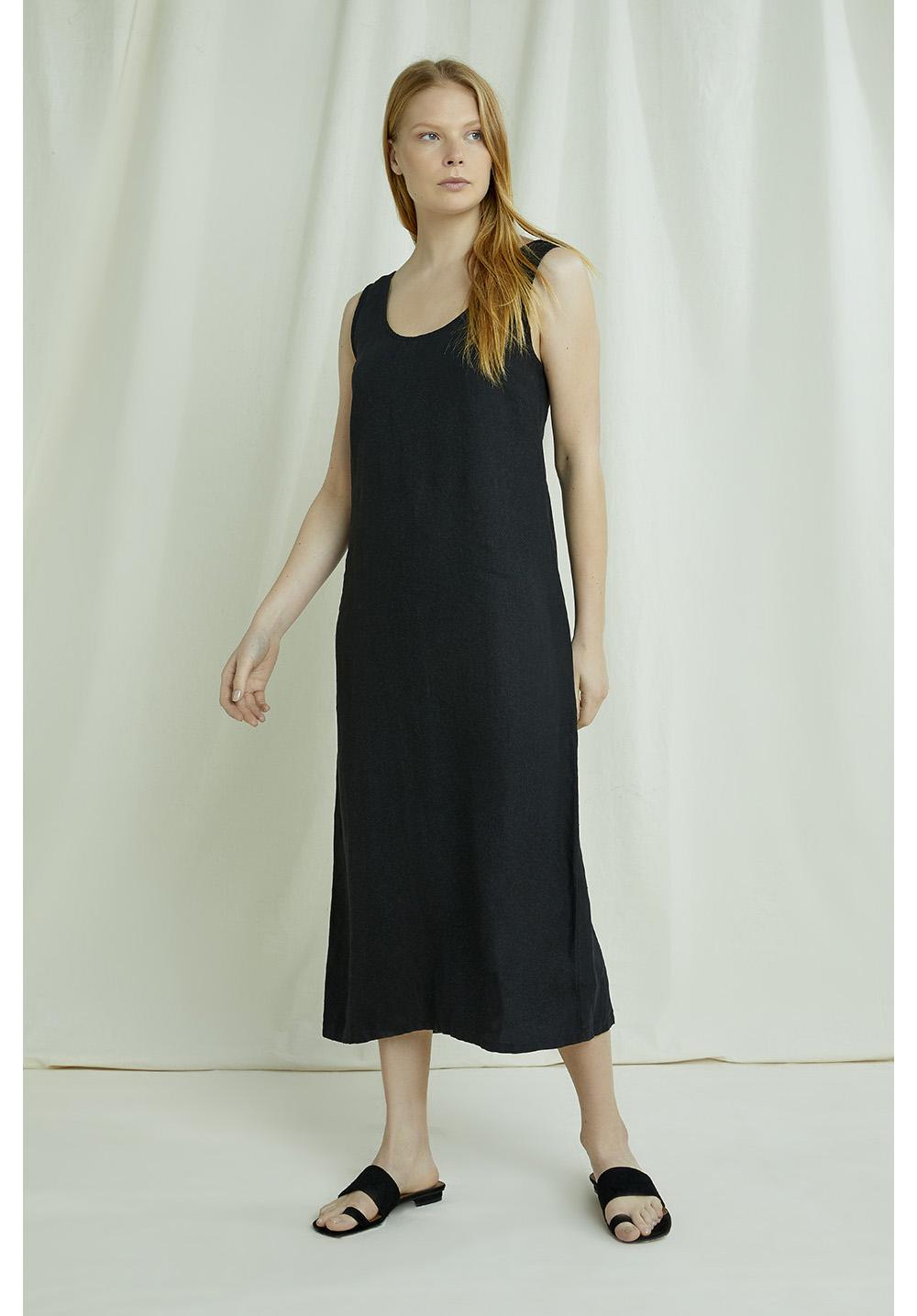 Alana Linen Dress In Black