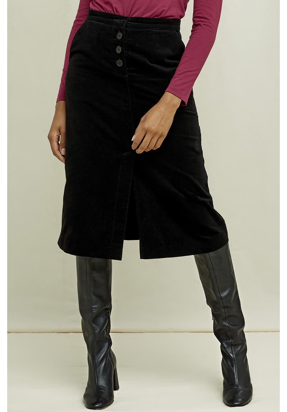 Rachel Velvet Skirt In Black