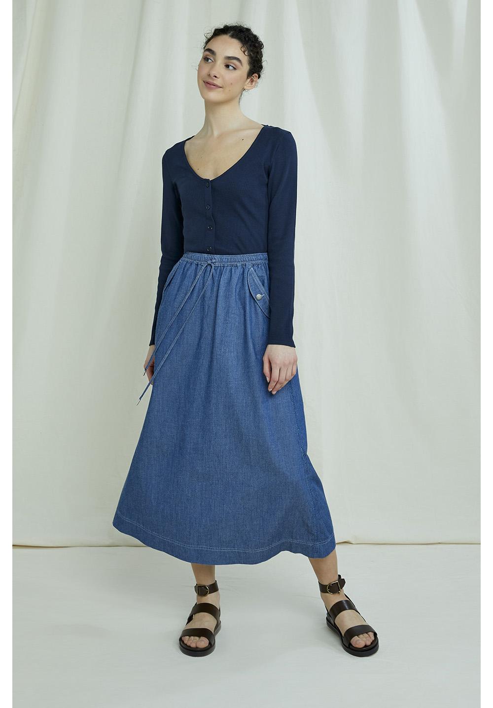 Daya Lightweight Denim Skirt
