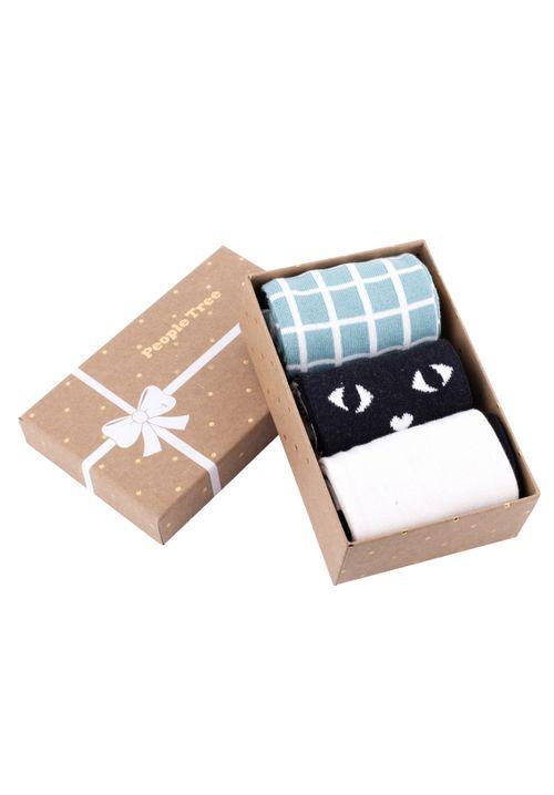 Green Patterned Socks Set of 3 in box