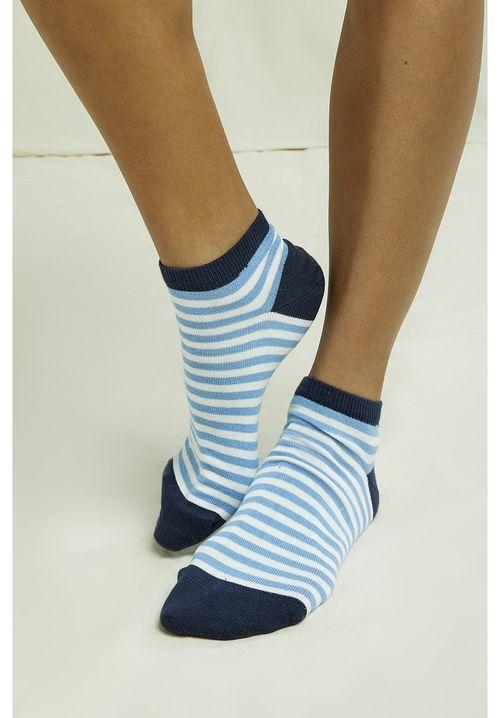 Stripe Trainer Socks In Blue