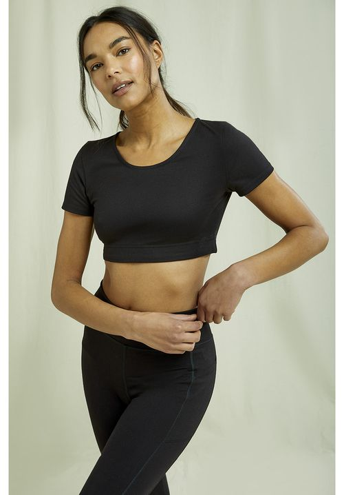 Yoga Scoop Crop Top In Black