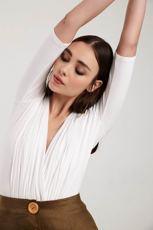 Lola Organic White Jersey & Voile Bodysuit