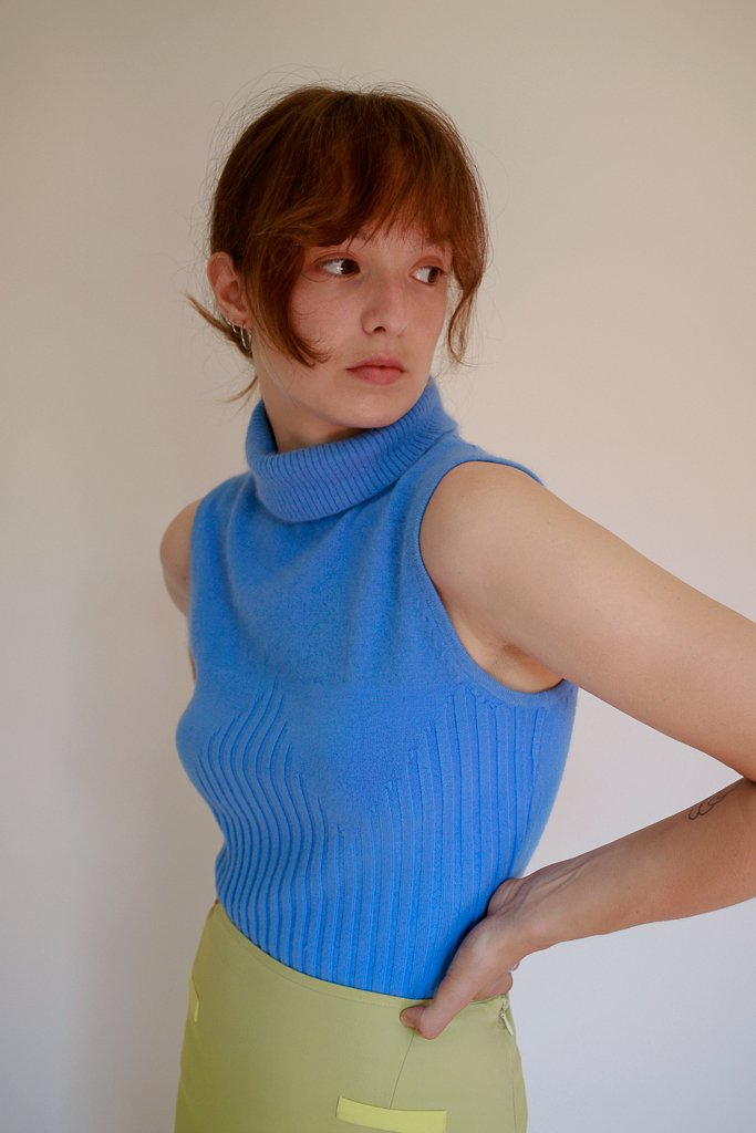 Blue angora turtle neck vest