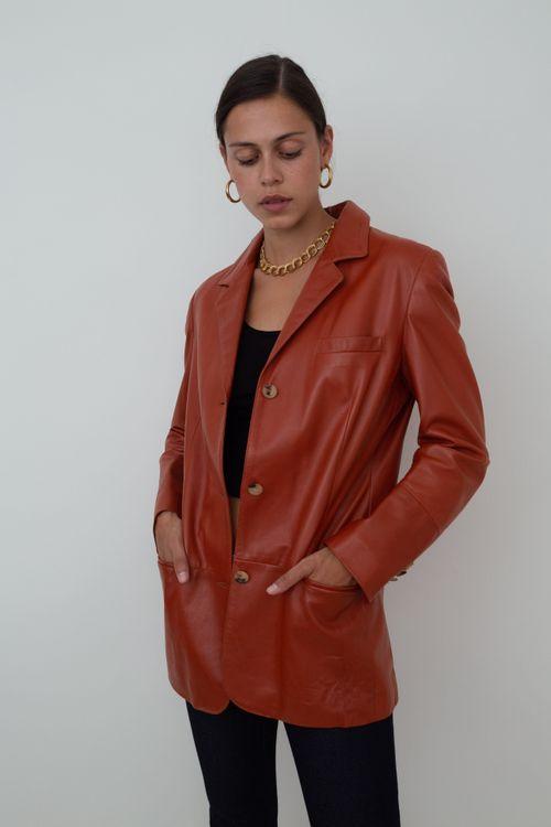Orange fitted leather blazer