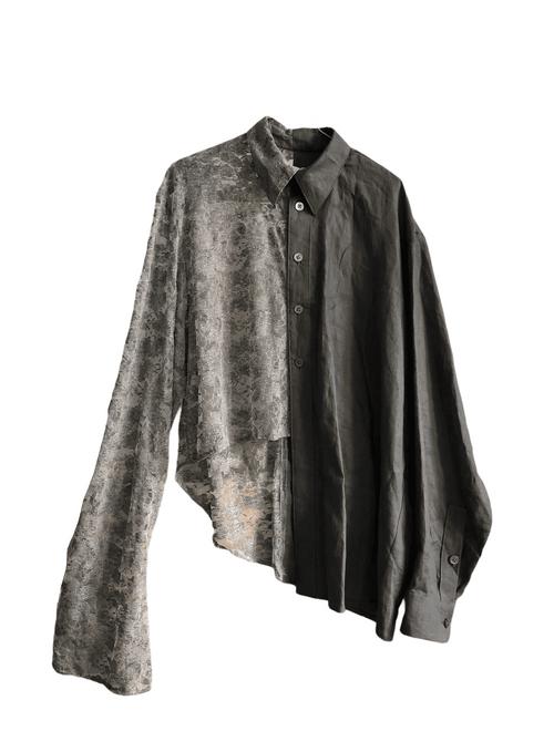 Asymmetrical Soft Lace-Linen Shirt