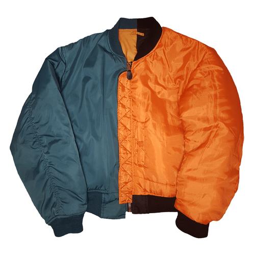 Split Bomber jacket - Green, Orange, Black, no sleeve pocket