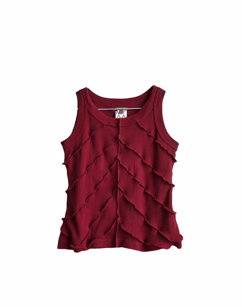 Red Knit Top Stitched