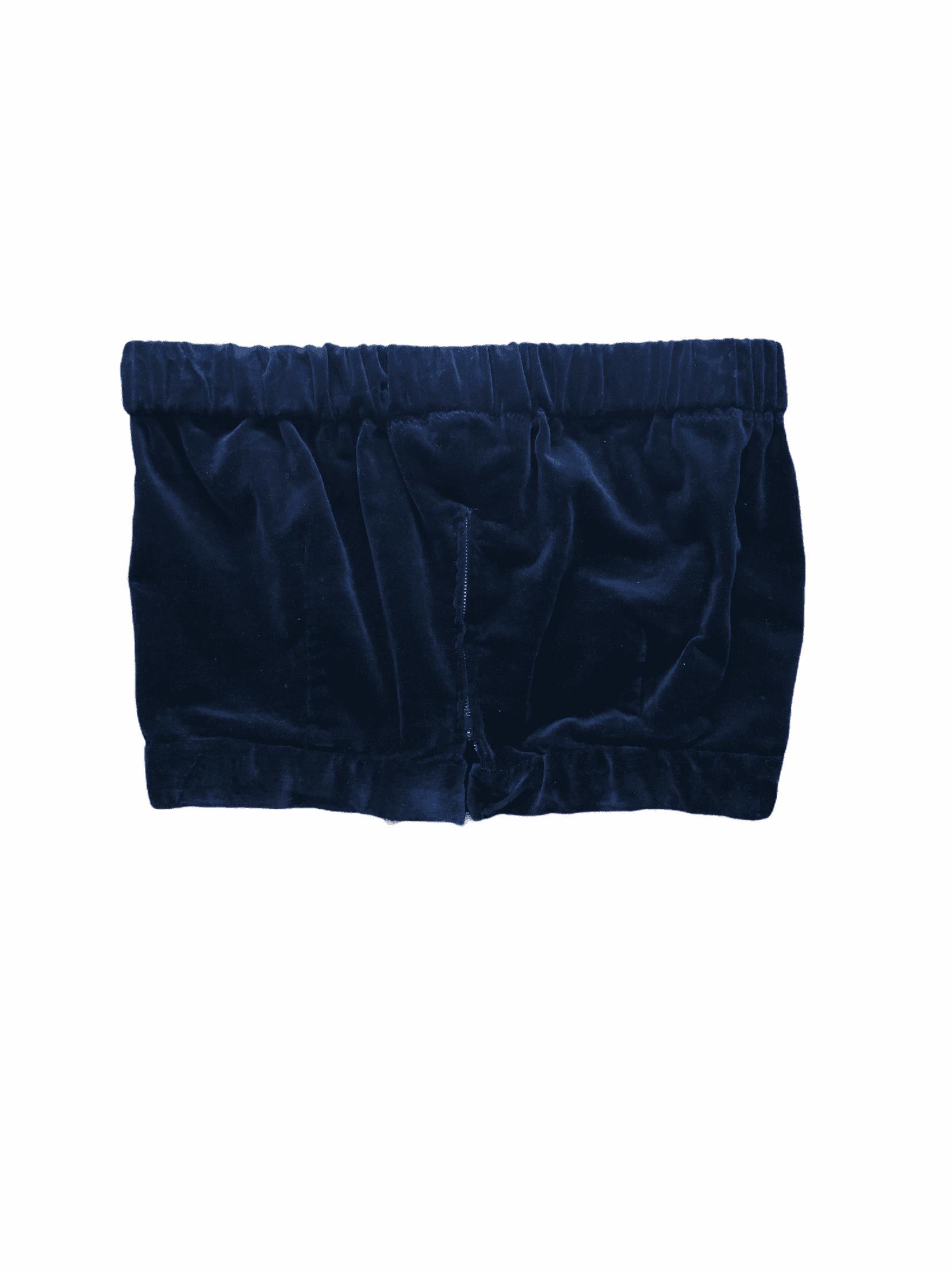 Strapless Velvet Zip-up Bandeau-top