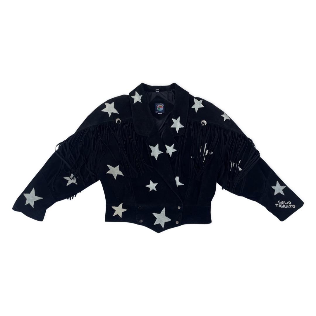 STARS FRINGED SUEDE JACKET