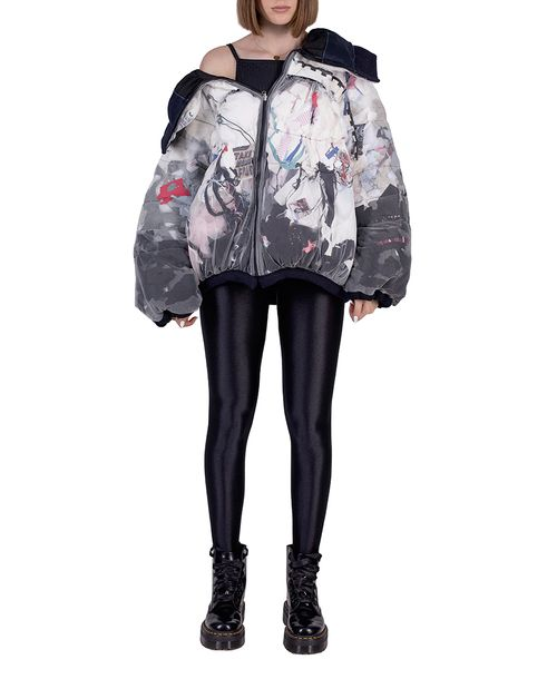 wasteart = statement two faces puffer jacket filled with debris