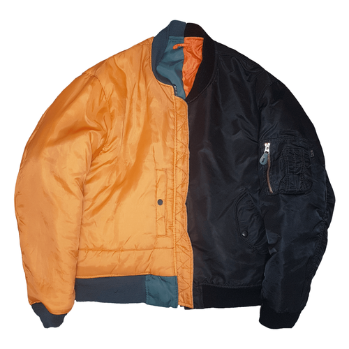 Split Bomber jacket - Green, Orange, Black