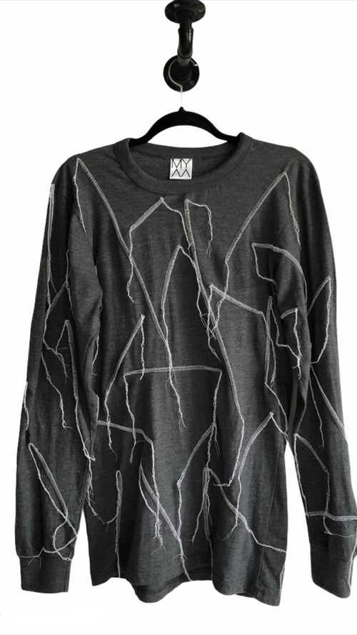 Grey Longsleeve With Contrast Stitching
