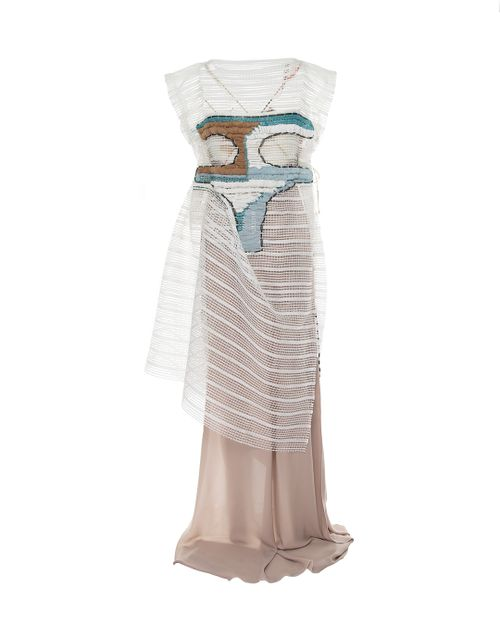 Transparent dress with woven details