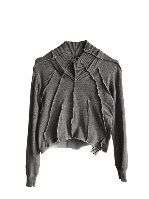 Grey Knit Pullover With Contrast Details