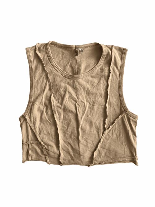 Brown Patchworks Crop-Top