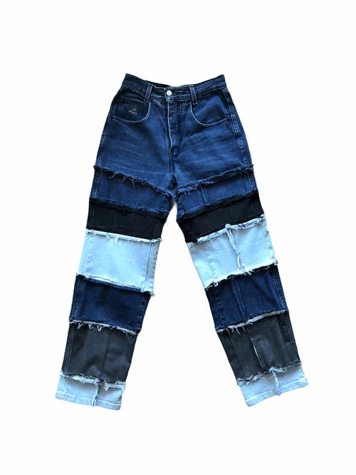 Frayed Patchwork Mom Jeans