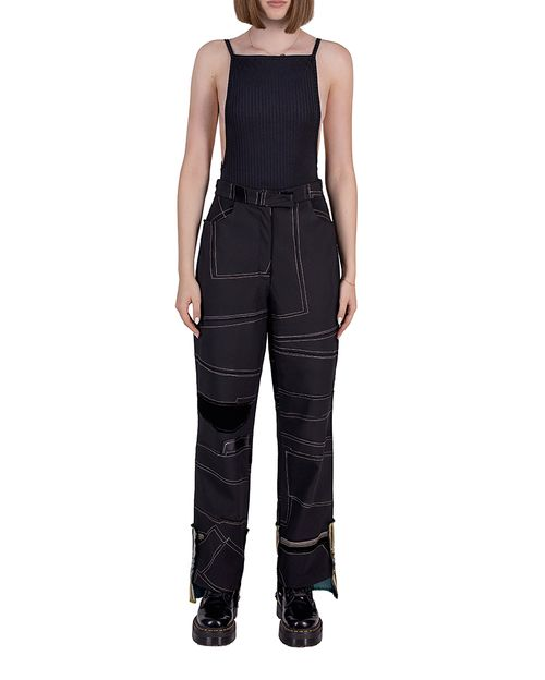 Classic pants in black patchwork reconstructed fabric
