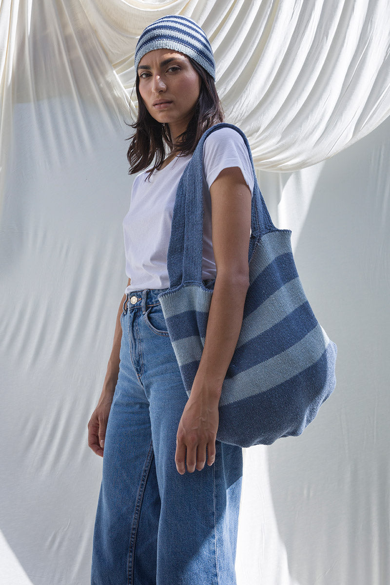 Recycled Cotton Jeans Knitted Bag Iole