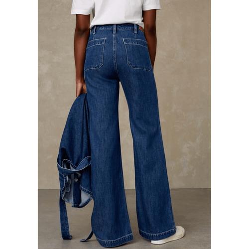Kings of Indigo Jane Sailor High Waisted Jeans Mid Marble Gleen
