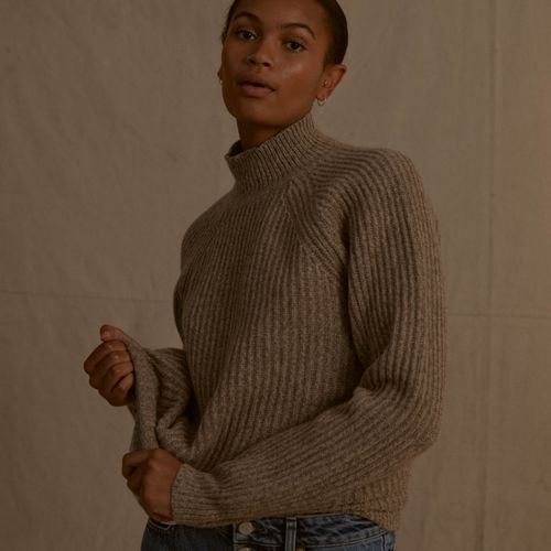 Recycled Cashmere Funnel Neck Sweater