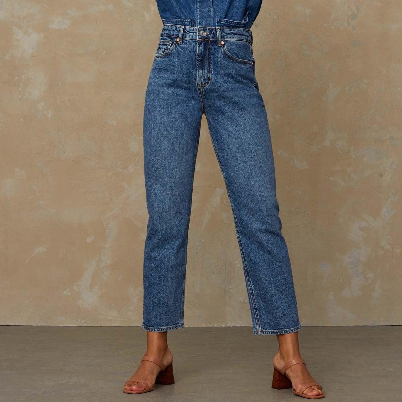 Caroline High Waisted Jeans Eco Xavier Blue Marble