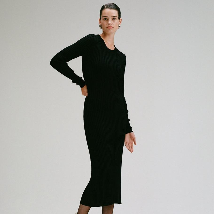 Open Curved Back Rib Knit Dress