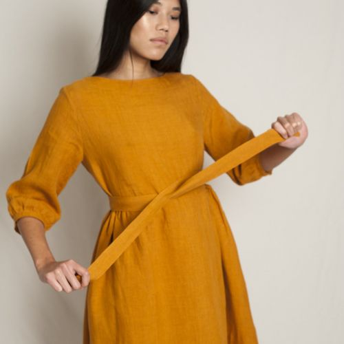 Flora Linen Dress Ochre