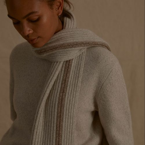 Recycled Cashmere Stripe Scarf Cloud