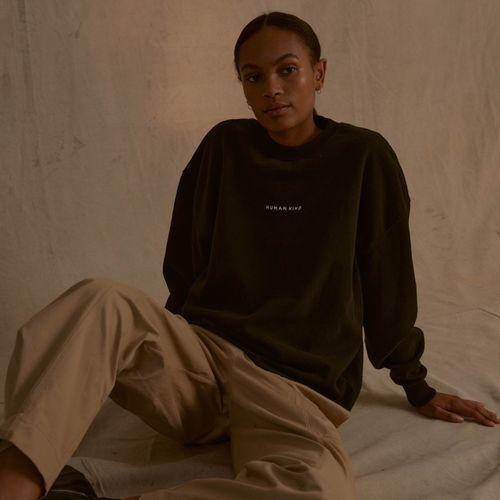 'Human Kind' Oversized Sweatshirt Washed Black
