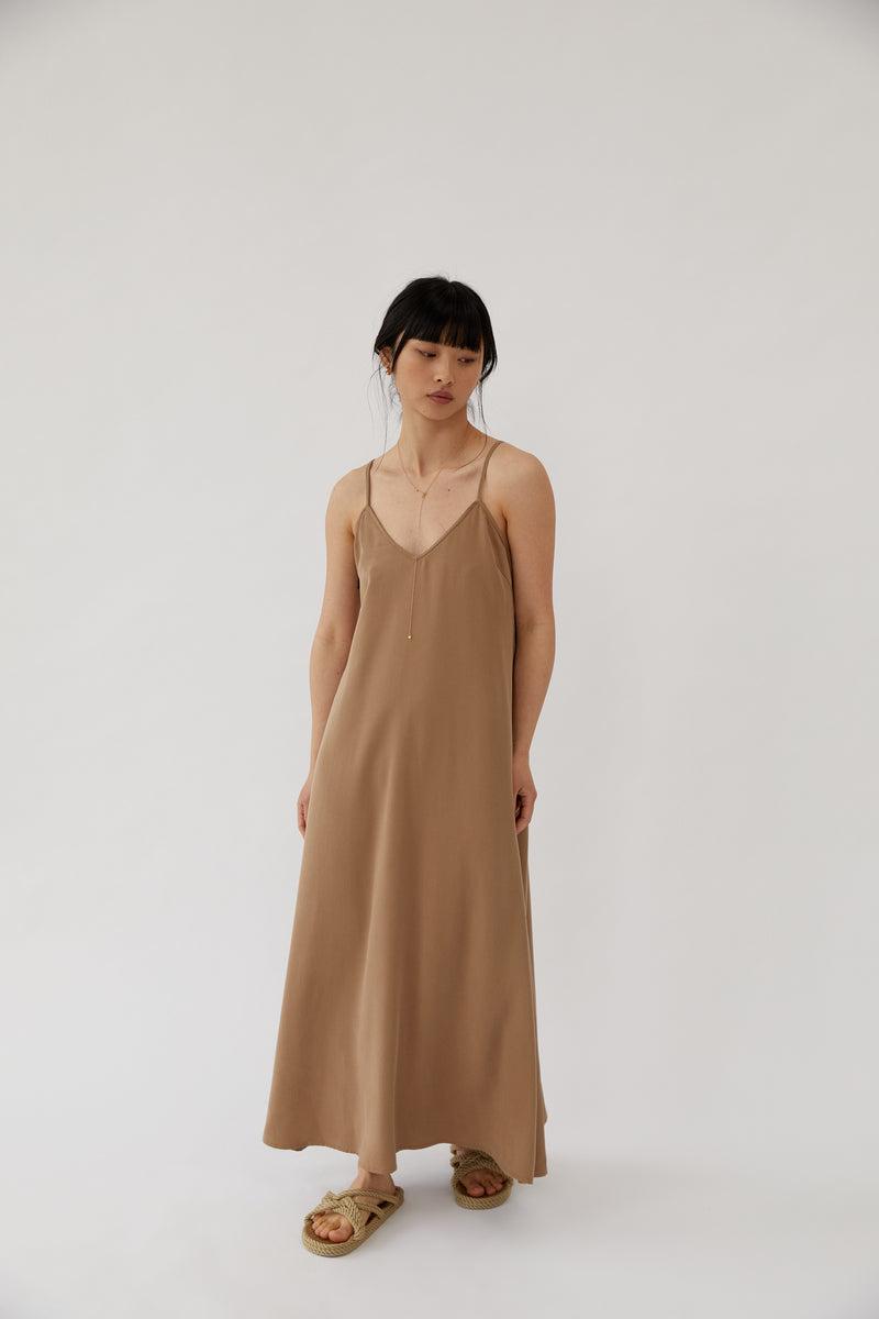 Long Cami Dress Almond