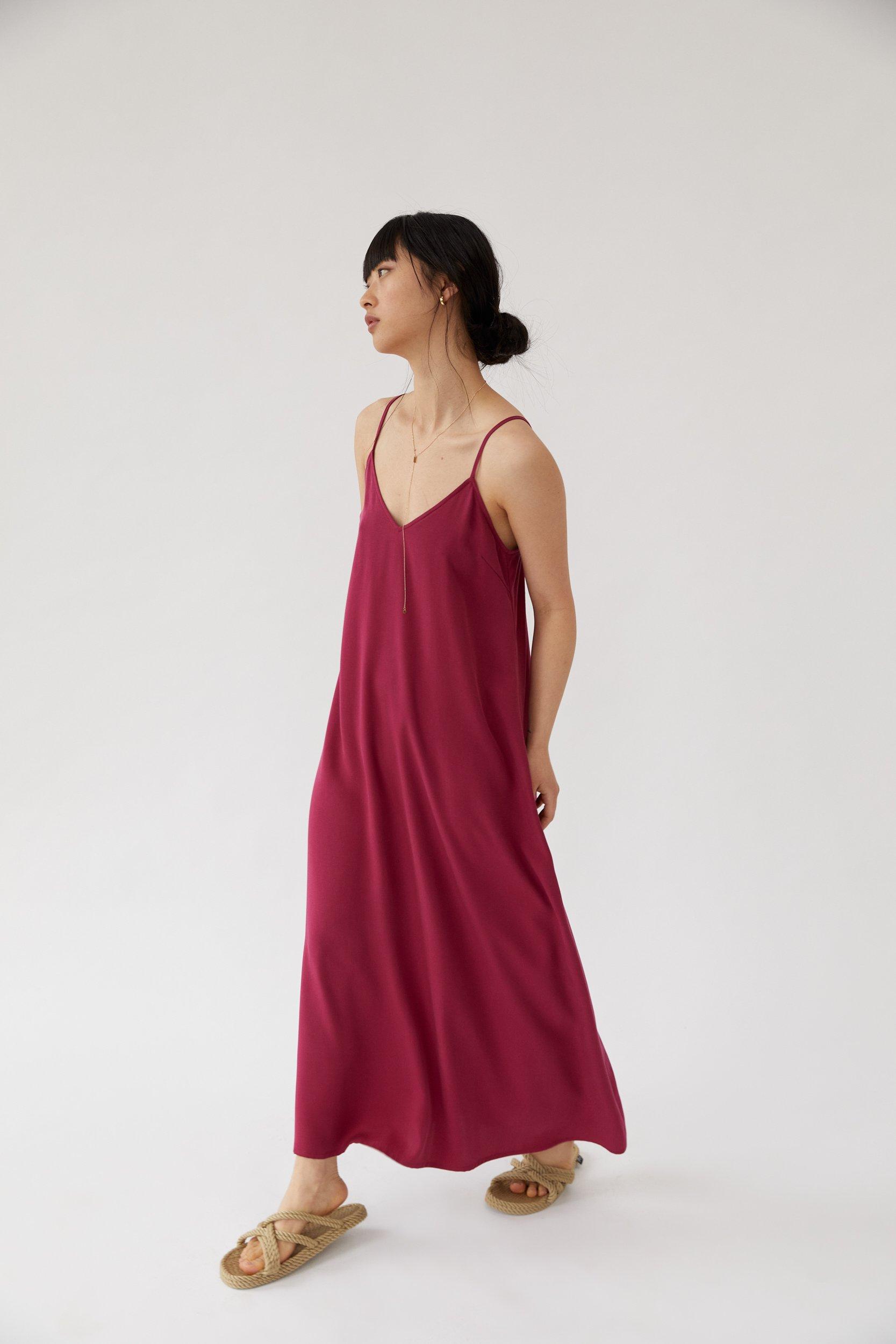 Long Cami Dress Berry