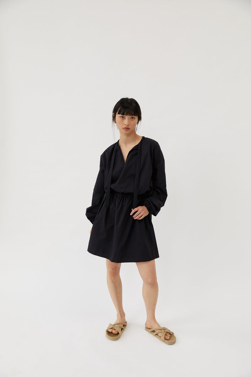 The Slow Label Puff-Sleeved Dress Black