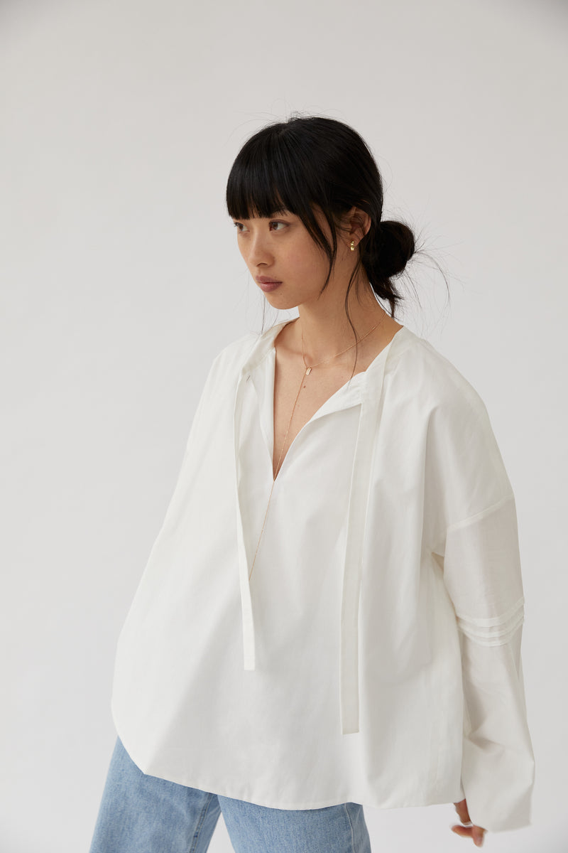 Puff-Sleeved Blouse White