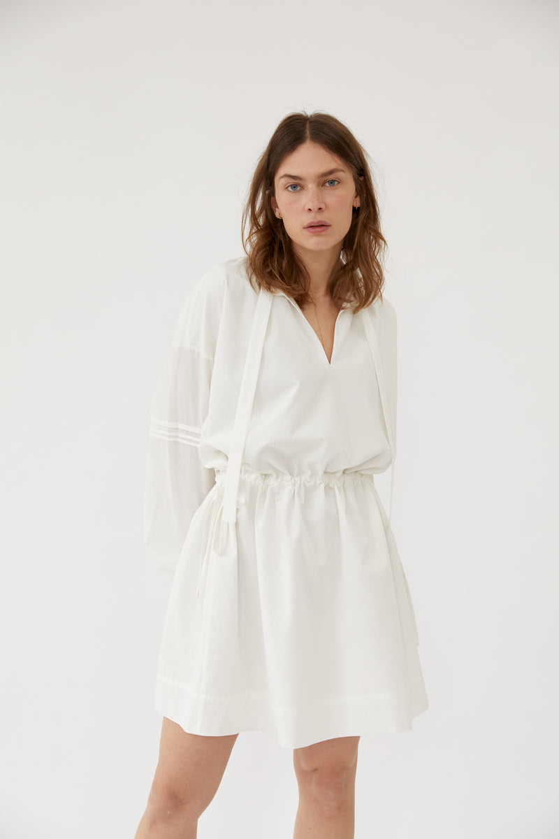 The Slow Label Puff-Sleeved Dress White